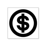 Us Dollar Sign Logo In Circle Square Sticker 3&quo