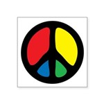 Groovy And Colorful Peace Symbol Square Sticker 3&