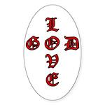 LOVE GOD -CROSS- CHRISTIAN Oval Sticker
