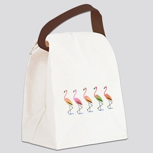 March of the Tropical Flamingos Canvas Lunch Bag