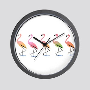 March of the Tropical Flamingos Wall Clock