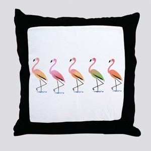 March of the Tropical Flamingos Throw Pillow