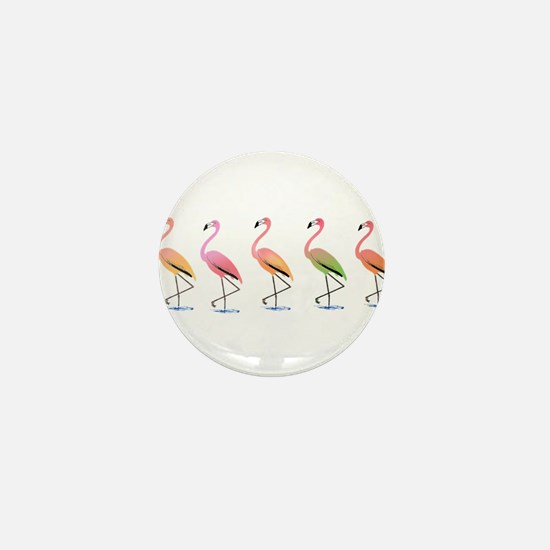 March of the Tropical Flamingos Mini Button