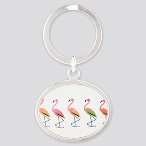 March of the Tropical Flamingos Keychains