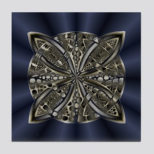 Blue Black Gold Silver Celtic Knot Tile Coaster