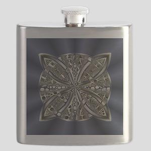 Blue Black Gold Silver Celtic Knot Flask
