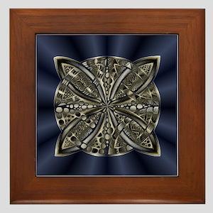 Blue Black Gold Silver Celtic Knot Framed Tile