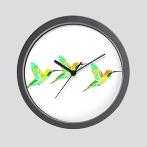 Trio of Lemon Lime Sorbet Hummingbirds Wall Clock
