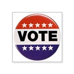 Vintage Vote Button Symbol Square Sticker 3""