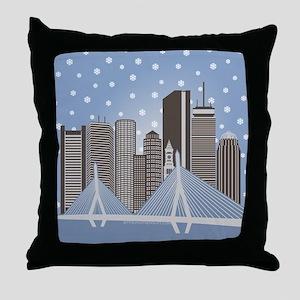 Boston Snowflakes Throw Pillow