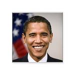 Barack Obama Smiling Portrait Square Sticker 3&quo