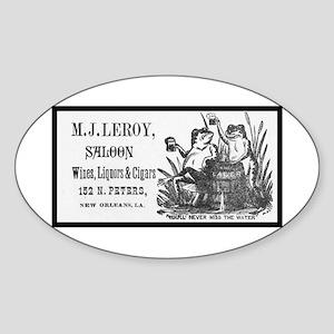 M. J. Leroy's Saloon ~ 1889 Oval Sticker