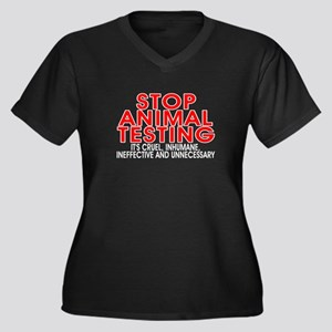 Stop animal Women's Plus Size V-Neck Dark T-Shirt