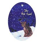 Cat Carol Oval Ornament