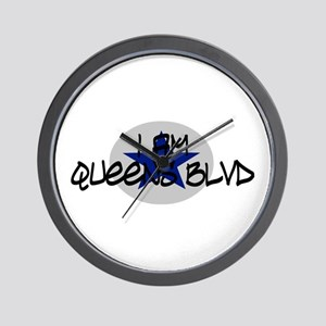 I am Queens Blvd 2 - Blue Wall Clock