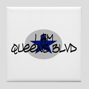 I am Queens Blvd 2 - Blue Tile Coaster