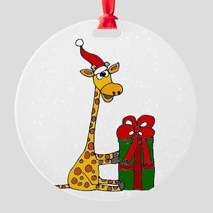 Christmas Giraffe Round Ornament