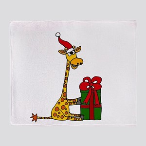 Christmas Giraffe Throw Blanket