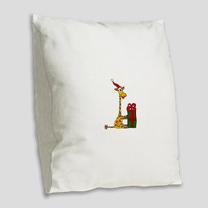 Christmas Giraffe Burlap Throw Pillow