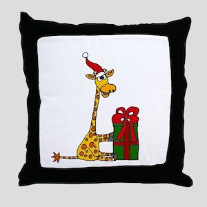 Christmas Giraffe Throw Pillow