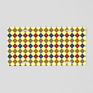 Argyle Diamonds Plaid Patte Aluminum License Plate