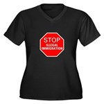 Stop Illegal Immigration Women's Plus Size V-Neck