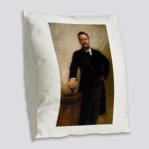 theodore roosevelt Burlap Throw Pillow