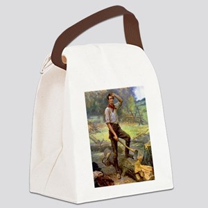 abe lincoln Canvas Lunch Bag