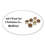 Christmas Muffins Sticker (Oval 10 pk)