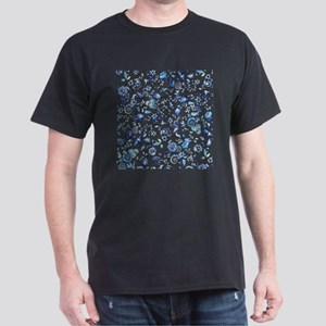 Blue Floral Dark T-Shirt