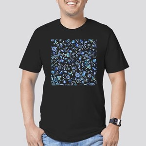 Blue Floral Men's Fitted T-Shirt (dark)