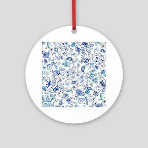Blue Floral Ornament (Round)