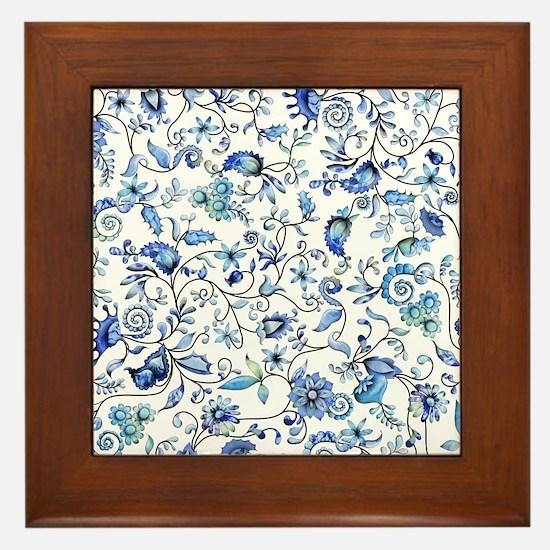 Blue Floral Framed Tile
