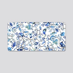 Blue Floral Aluminum License Plate