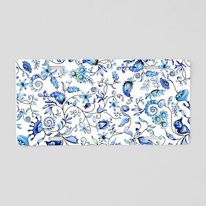 Blue Floral Aluminum License Plate