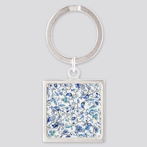 Blue Floral Square Keychain
