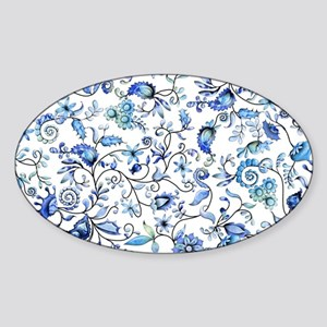 Blue Floral Sticker (Oval)