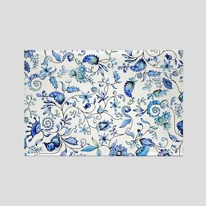 Blue Floral Rectangle Magnet