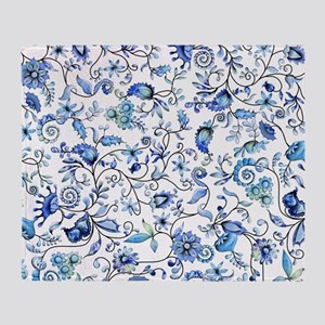 Blue Floral Throw Blanket