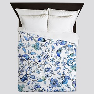 Blue Floral Queen Duvet