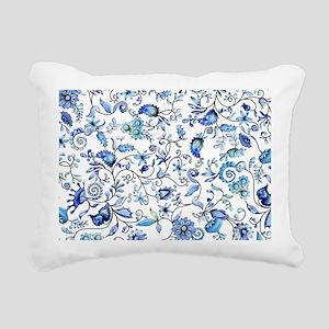 Blue Floral Rectangular Canvas Pillow