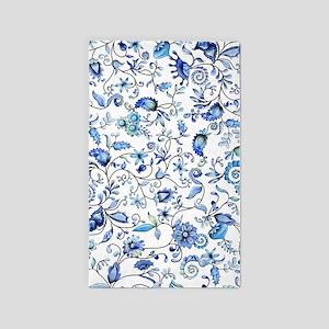 Blue Floral 3'x5' Area Rug