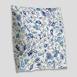 Blue Floral Burlap Throw Pillow