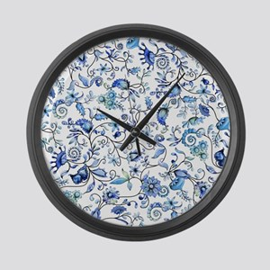 Blue Floral Large Wall Clock