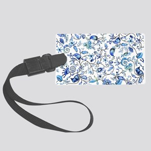 Blue Floral Large Luggage Tag