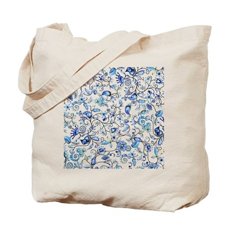 Blue Floral Tote Bag By Zodiarts