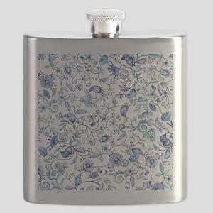 Blue Floral Flask