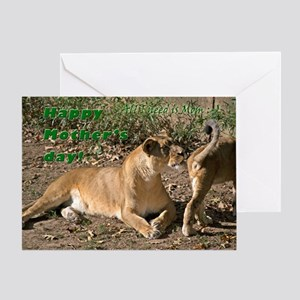 Lioness with cub Greeting Cards