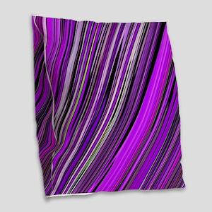 Purple Stripes Burlap Throw Pillow