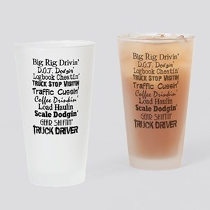 Big Rig Drivin' Drinking Glass